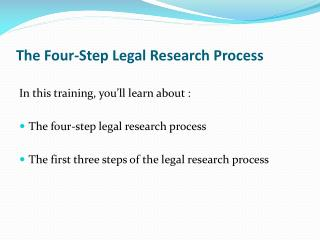 The Four-Step Legal Research Process