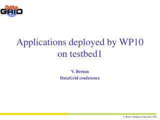 Applications deployed by WP10 on testbed1