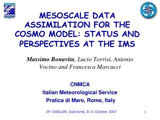 MESOSCALE DATA ASSIMILATION FOR THE COSMO MODEL: STATUS AND PERSPECTIVES AT THE IMS