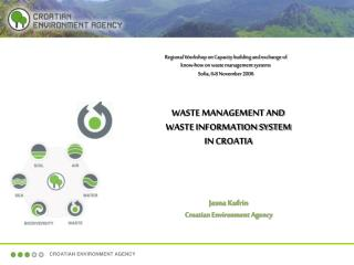 WASTE MANAGEMENT AND  WASTE INFORMATION SYSTEM  IN CROATIA Jasna Kufrin