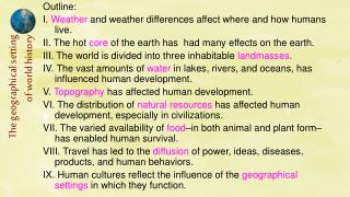 Outline: I.  Weather  and weather differences affect where and how humans live.
