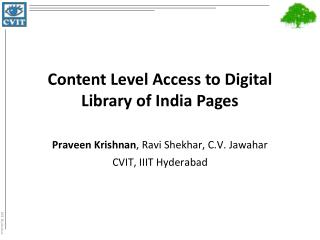 Content Level Access to Digital Library of India Pages