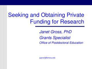 Seeking and Obtaining Private Funding for Research