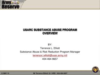 USARC SUBSTANCE ABUSE PROGRAM OVERVIEW