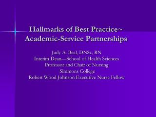 Hallmarks of Best Practice~ Academic-Service Partnerships