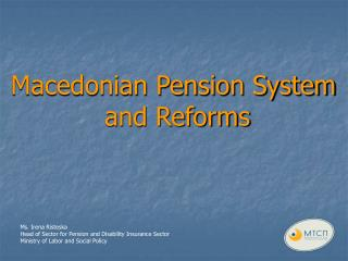 Macedonian Pension System  and Reforms
