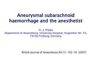British Journal of Anaesthesia 99 (1): 102–18  (2007)