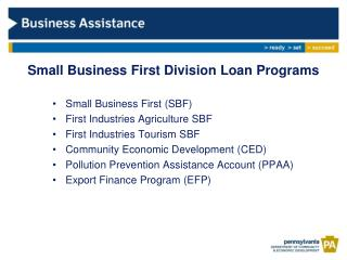Small Business First Division Loan Programs