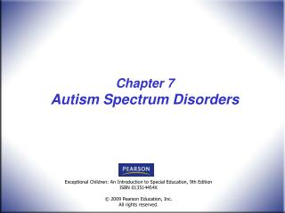 Chapter 7 Autism Spectrum Disorders