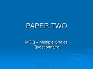 PAPER TWO