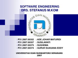 SOFTWARE ENGINEERING DRS. STEFANUS M.KOM