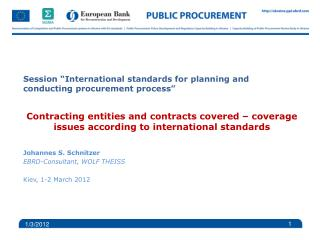 "Session ""International standards for planning and conducting procurement process"""