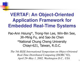 VERTAF: An Object-Oriented Application Framework for Embedded Real-Time Systems