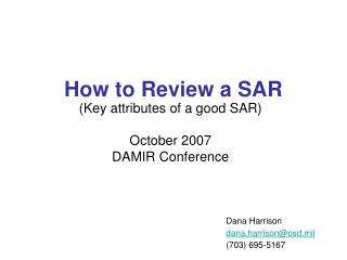 How to Review a SAR
