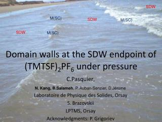 Domain walls at the SDW endpoint of (TMTSF) 2 PF 6  under pressure