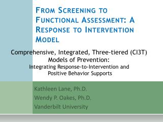 From Screening to Functional Assessment: A Response to Intervention Model