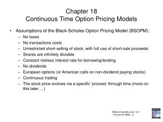 Chapter 18 Continuous Time Option Pricing Models