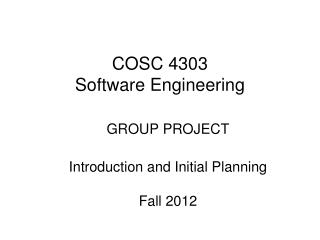 COSC 4303 Software Engineering