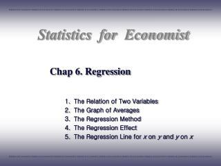Chap 6. Regression