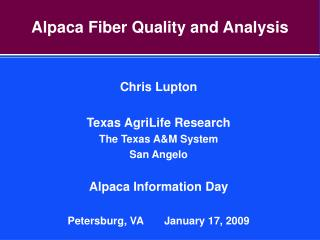 Alpaca Fiber Quality and Analysis