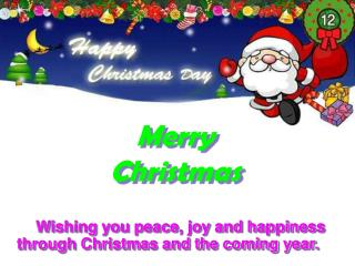 Wishing you peace, joy and happiness through Christmas and the coming year.