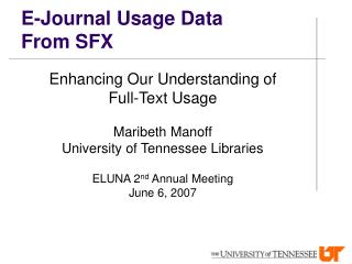 E-Journal Usage Data From SFX