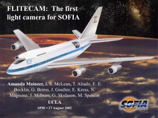 FLITECAM:  The first light camera for SOFIA