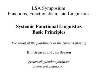 LSA Symposium Functions, Functionalism, and Linguistics