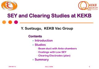 SEY and Clearing Studies at KEKB