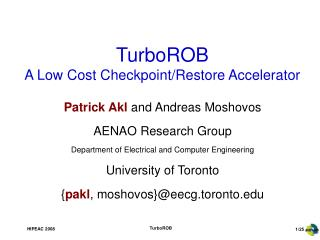 TurboROB A Low Cost Checkpoint/Restore Accelerator