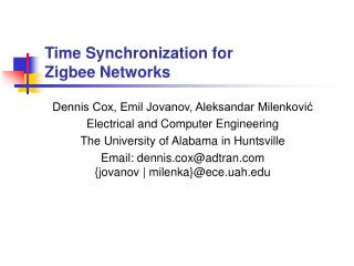 Time Synchronization for  Zigbee Networks