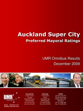 Auckland Super City Preferred Mayoral Ratings