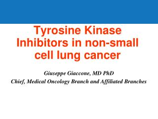 Tyrosine Kinase Inhibitors in non-small cell lung cancer