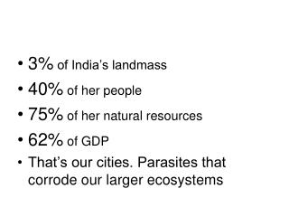 3%  of India's landmass 40%  of her people 75%  of her natural resources 62%  of GDP