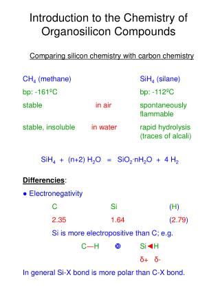 Introduction to the Chemistry of Organosilicon Compounds
