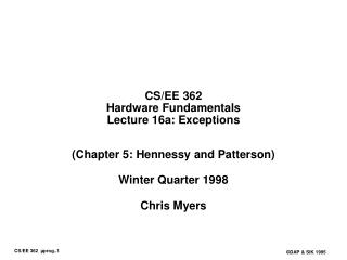 CS/EE 362 Hardware Fundamentals Lecture 16a: Exceptions