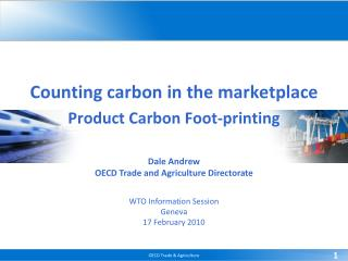 Counting carbon in the marketplace Product Carbon Foot-printing