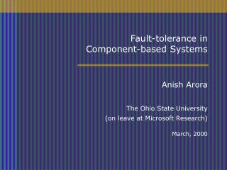 Fault-tolerance in  Component-based Systems