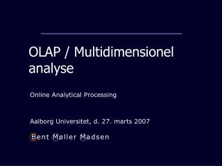 OLAP / Multidimensionel analyse