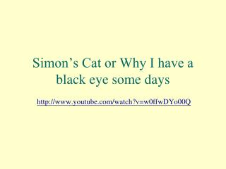 Simon's Cat or Why I have a black eye some days
