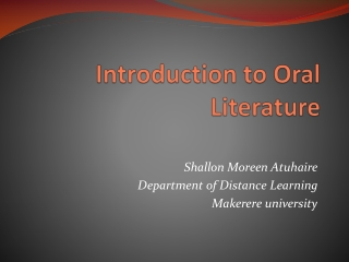 Introduction to O ral Literature
