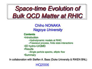 Space-time  Evolution of  Bulk QCD Matter at RHIC