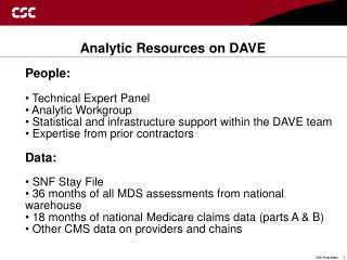 Analytic Resources on DAVE