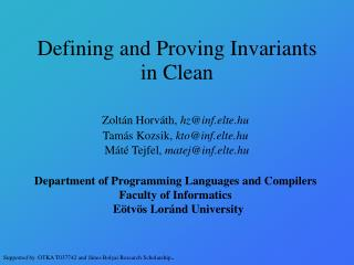 Defining and Proving Invariants in Clean