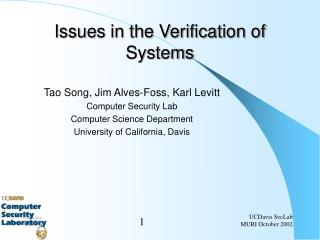 Issues in the Verification of Systems