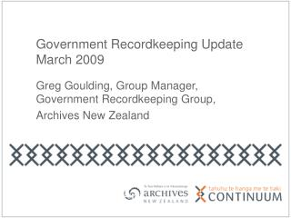 Government Recordkeeping Update March 2009