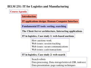 IELM 231: IT for Logistics and Manufacturing