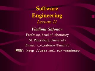 Software Engineering Lecture 11