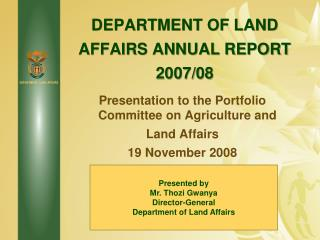 DEPARTMENT OF LAND AFFAIRS ANNUAL REPORT  2007/08