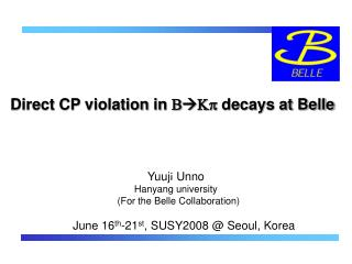 Direct CP violation in  B Kp  decays at Belle